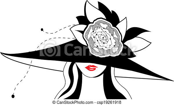 1314e7b0ca5 Abstract woman silhouette with hat. vector illustration.