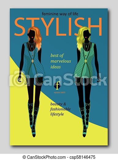 Abstract Women Silhouette In Trendy Style Fashion Magazine Cover
