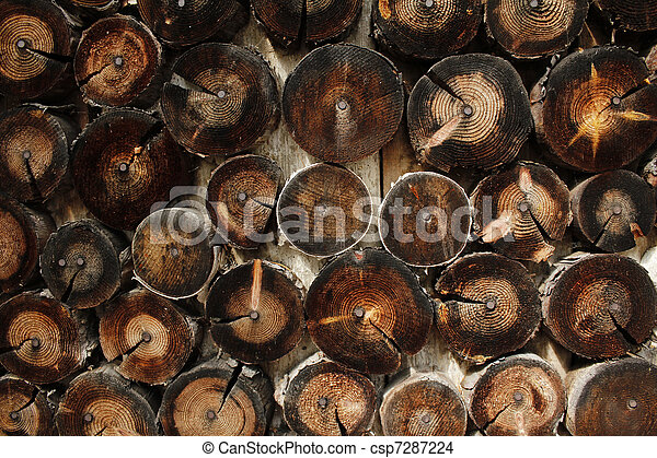 Abstract wood log background close-up - csp7287224