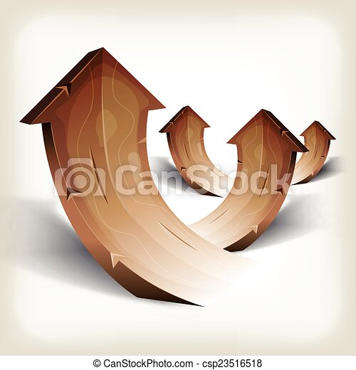 Abstract Wood Rising Arrows - csp23516518