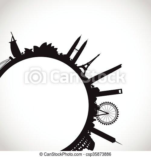 abstract world landmarks - csp35873886