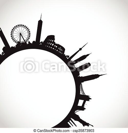 abstract world landmarks - csp35873903