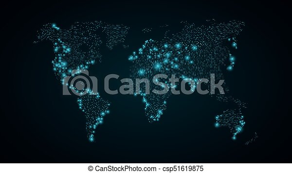 Abstract world map blue map of the earth from the square points abstract world map blue map of the earth from the square points dark blue background blue lights gumiabroncs Gallery