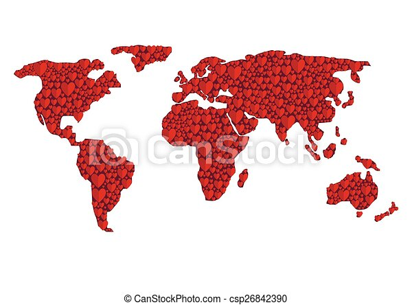 Abstract world map red hearts valentines day concept abstract world map csp26842390 gumiabroncs Images