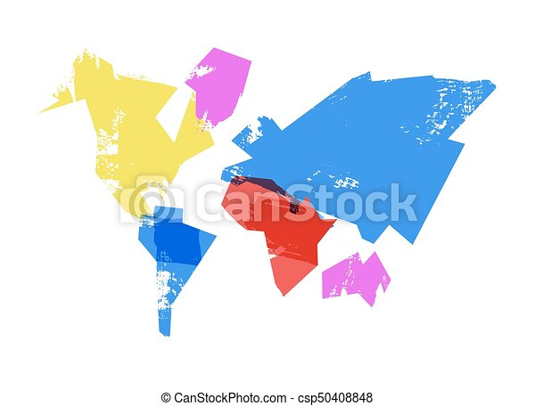 Abstract world map hand drawn concept illustration. Abstract world ...