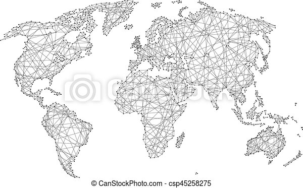 Abstract World Map Of Polygonal Lines And Dots On A White Background