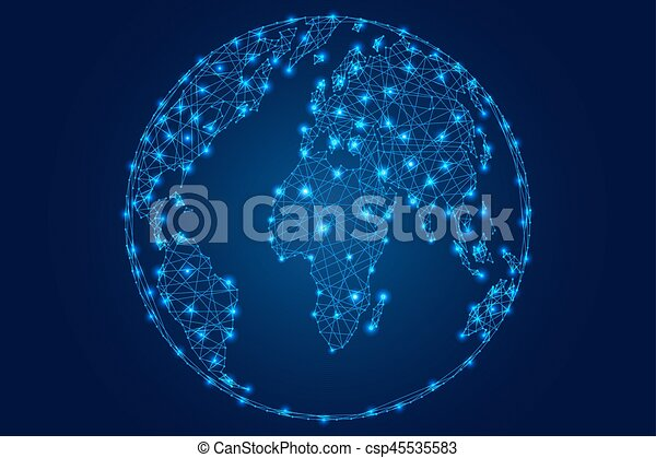 Abstract world map on a globe ball of polygonal blue lines abstract world map on a globe ball of polygonal blue lines stars on a dark background of vector gumiabroncs Images