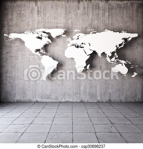 Abstract world map in room with concrete walls stock photos search abstract world map csp30898237 gumiabroncs Image collections