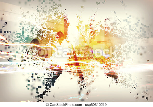 Abstract world with businessperson. Concept of global internet. Double exposure - csp50810219