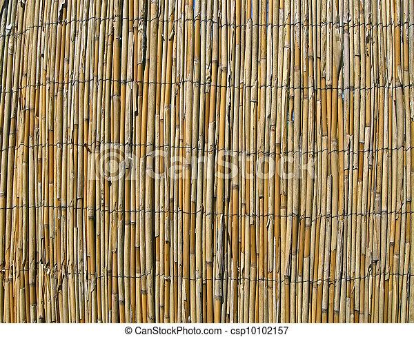 abstract yellow bamboo wall, construction details - csp10102157