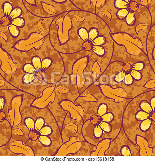 abstract yellow flowers brown seamless background - csp15618158