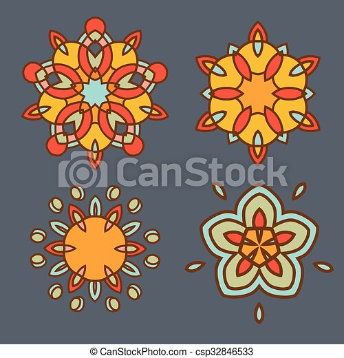Abstract yellow flowers ornament design set - csp32846533