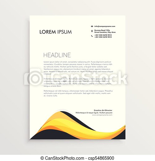 Abstract yellow letterhead design template vector clipart search abstract yellow letterhead design template csp54865900 spiritdancerdesigns Image collections