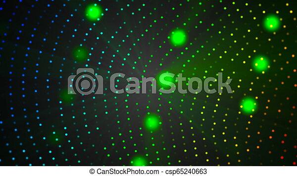 abstraction, informatique, render, espace, lumière, vj, moderne, -, particules, engendré, fond, noir, vie nocturne, style, 3d - csp65240663