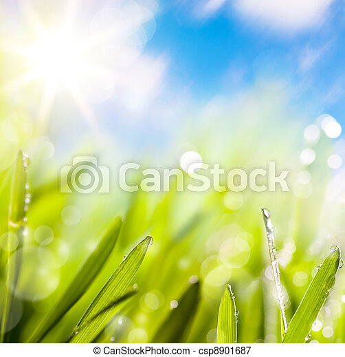 abstracts of natural spring green background - csp8901687