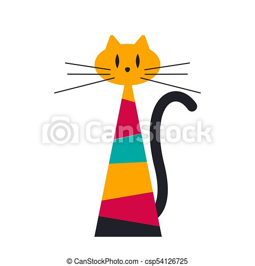 Abstrakcyjny Geometryczny Kot Dekoracyjny Isolated
