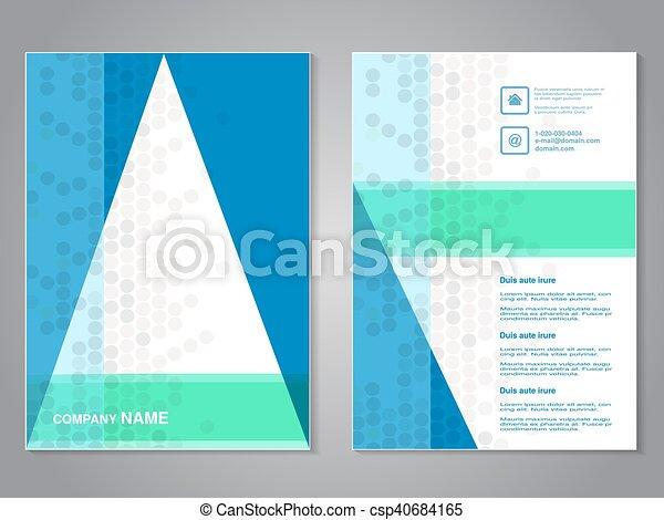 abstrakcyjny, nowoczesny, aspekt, projektować, układ, kropkowany, template., tło., zielony, biały triangel, błękitny, afisz, color., lotnik, a4, broszura, stosunek, size., szary, magazyn, wektor, cover. - csp40684165
