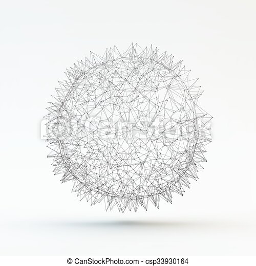abstrakcyjny, sphere., wektor, illustration., 3d - csp33930164