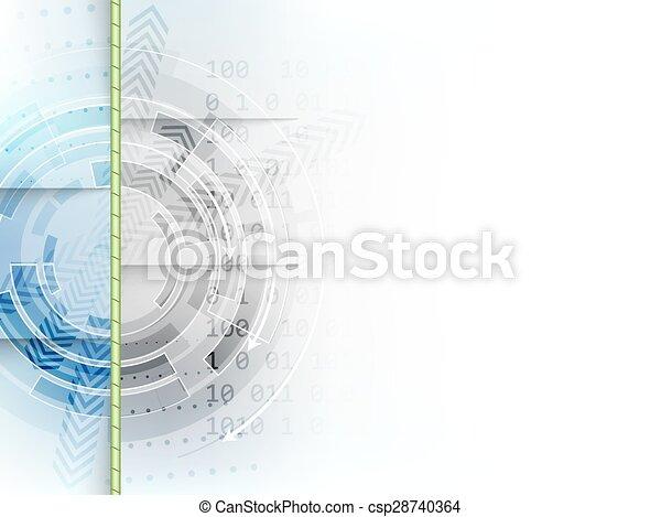 abstrakcyjny, strzały, wektor, tło, techniczny, koło - csp28740364
