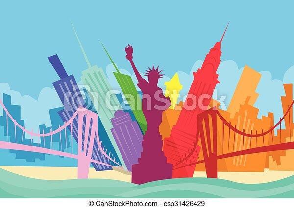 abstrakcyjny, sylwetka na tle nieba, miasto, drapacz chmur, york, nowy, sylwetka - csp31426429