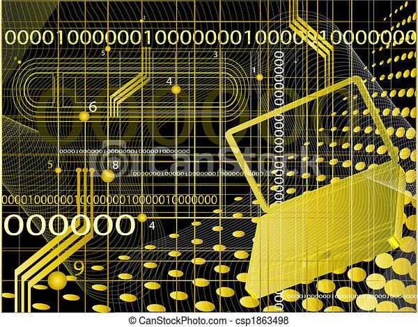 abstrakcyjny, tło, techniczny - csp1863498