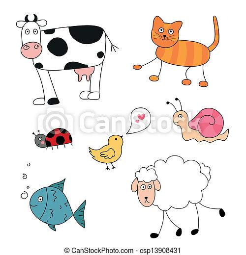 abstrakcyjny, wektor, zwierzęta, rysunek - csp13908431