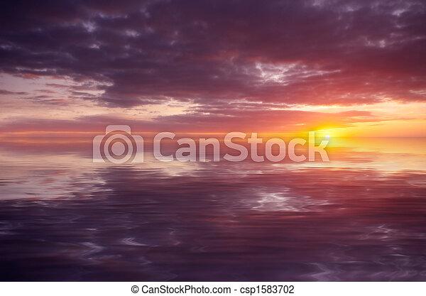 abstrakcyjny, zachód słońca ocean - csp1583702