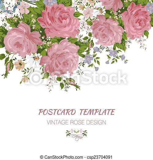 abstrakt, bröllop, bakgrund., inbjudan, blommig, eller, kort - csp23704091