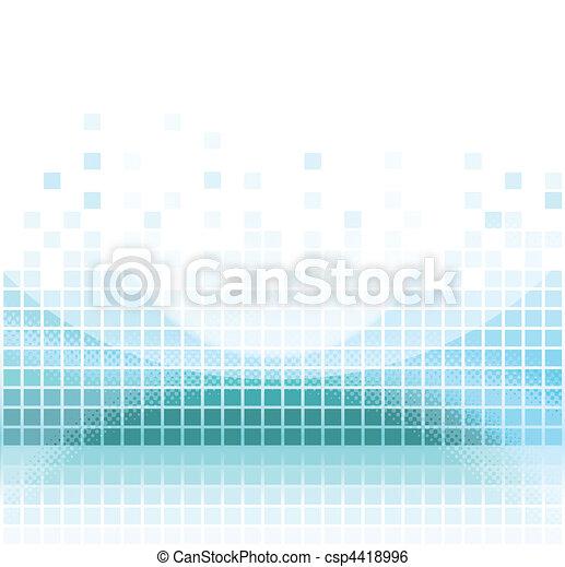 abstrakt, firkantet, aqua, pixel, mosaik - csp4418996
