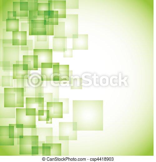 abstrakt, hintergrund, grün, quadrat - csp4418903