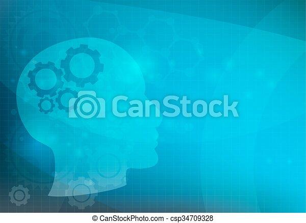 abstrakt, huvud, bakgrund, utrustar, hjärna, vektor - csp34709328