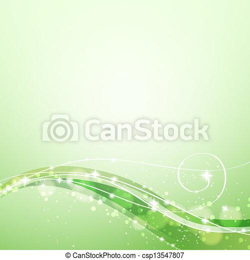 abstrakt, linjer, grøn baggrund, strømme, gnistre - csp13547807