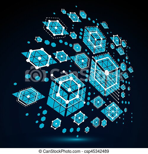 Abstrakt, Moderne Technik, Honeycombs., Style., Blaues, Bauhaus, Retro,  Technologisch, Geometrisch, Vektor
