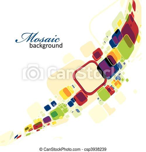 abstrakt, mosaik, hintergrund - csp3938239