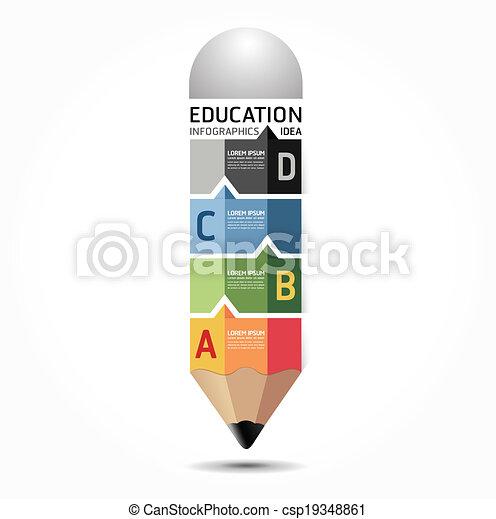 abstrakt, schablone, numeriert, gebraucht, linien, infographics, design, /, vektor, website, freisteller, bleistift, banner, infographic, horizontal, grafik, minimal, stil, sein, plan, oder, buechse - csp19348861