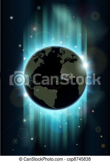 abstrakt, utrymme, klot, värld, backgrou - csp8745838