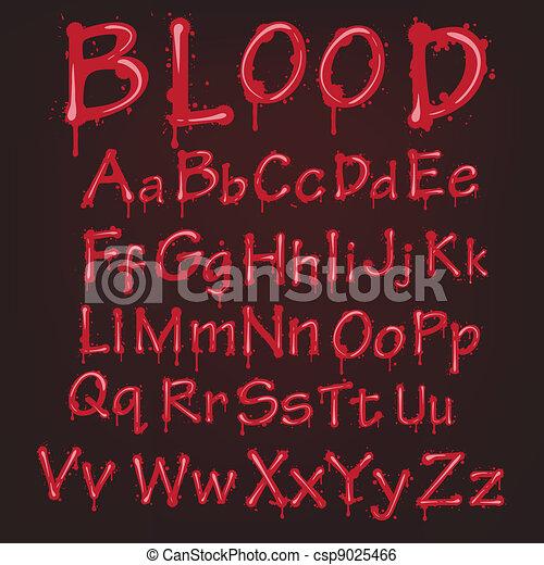 abstrakt, vektor, alphabet., blod, röd - csp9025466