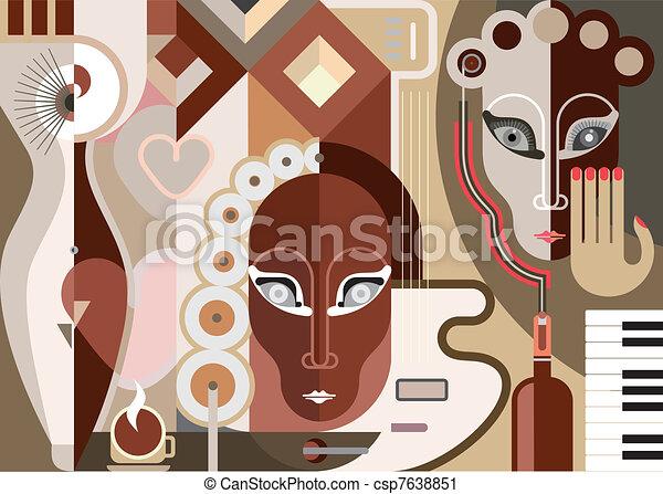 abstraktní, hudební, ilustrace - csp7638851