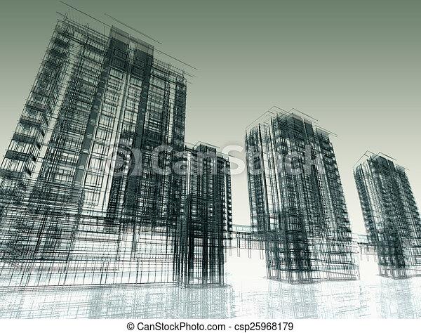 abstraktní, novodobý stavebnictví - csp25968179