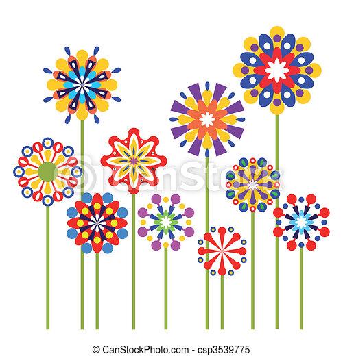 abstraktní, vektor, květiny, barvitý - csp3539775