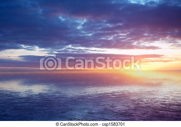 abstraktní, západ slunce oceán - csp1583701