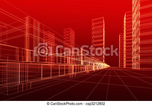 abstratos, arquitetura, 3d - csp3212802