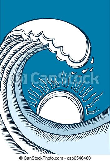 abstratos, azul, ilustração, mar, wave., vetorial - csp6546460