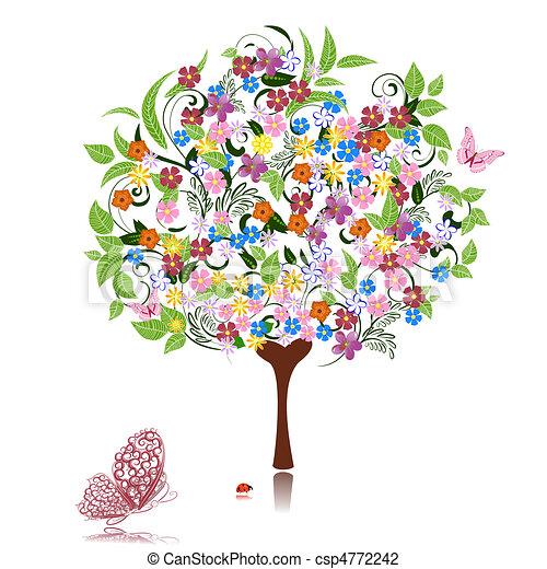 abstratos, flores, árvore - csp4772242