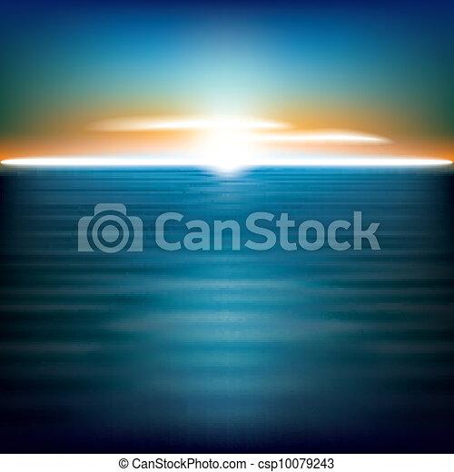 abstratos, fundo, mar, amanhecer - csp10079243