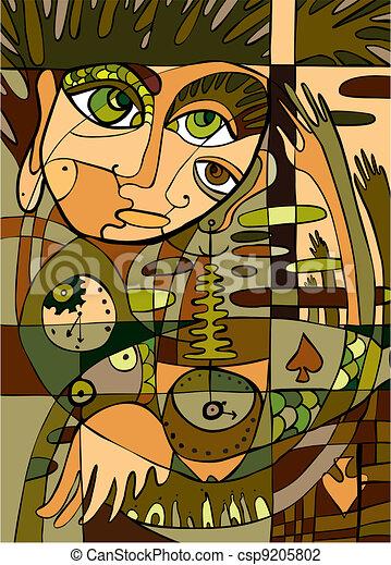 abstratos, fundo, rosto - csp9205802