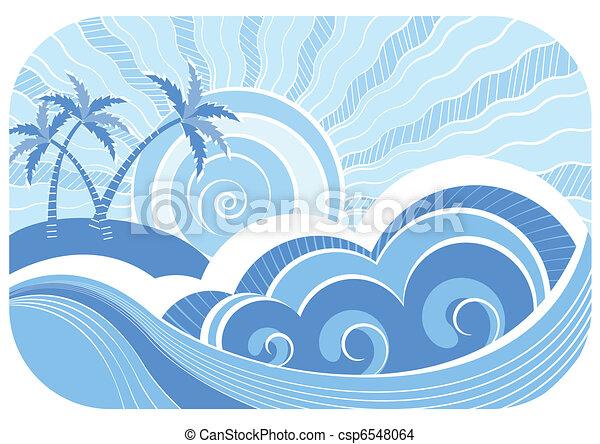 abstratos, ilustração, vetorial, paisagem, mar, waves. - csp6548064