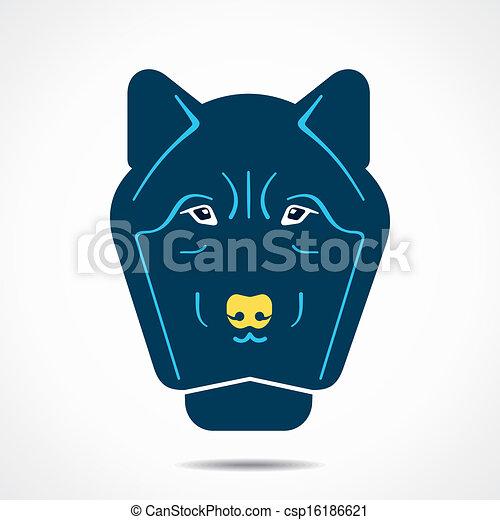 abstratos, lobo, rosto - csp16186621