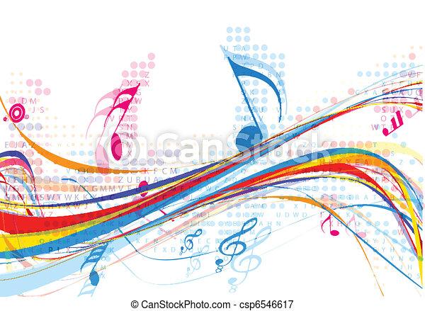 abstratos, notas música, desenho - csp6546617