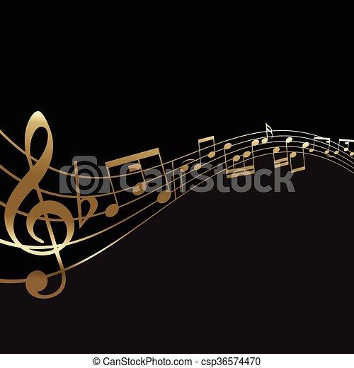 abstratos, notas música, fundo - csp36574470